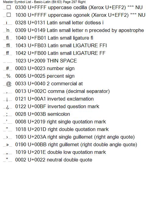 Printer Command Language HP Master Symbol List - Unicode conversion