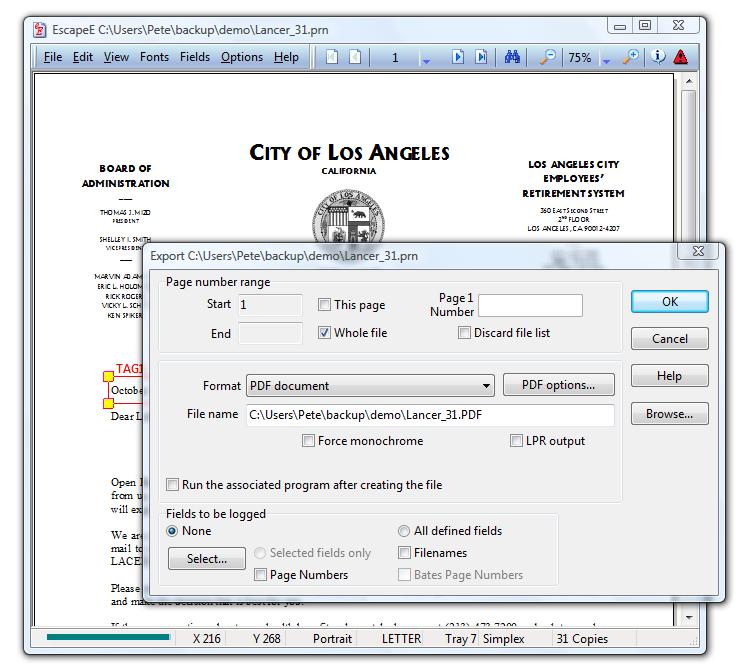 PCL to PDF
